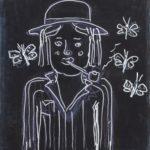 Naiv måling i svartvitt av kvinna med hatt och pipa