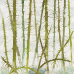 Målning gröna strimmor, gräs, grenar